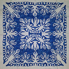 Cala Lily Hawaiian design wall size Quilt Top - Hand applique - Blue & White