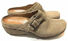 Timberland Mule Clog Gray Suede Wedge Buckle Slip-On Shoes Women's Size 9.5 M