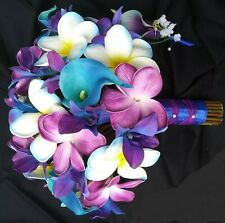 Real Touch Frangipani Plumeria Tropical Wedding Bouquet