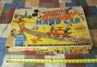 VINTAGE 1955 MARX WINDUP MICKEY MOUSE & DONALD DUCK HAND CAR/ WORKING w/ O. BOX