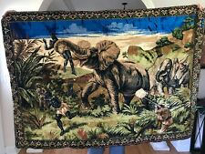 """VINTAGE LARGE AFRICAN ELEPHANT HUNT TAPESTRY RUG WALL HANGING LEBANON 68""""X48"""""""
