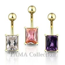 Steel Rectangle Cz Navel Belly Ring Fama 14kt Gold Plated Surgical Stainless