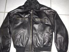 VTG VERSACE V2 BOMBER LEATHER JACKET L MEN Luxus Leder Jacke Retro Schwarz Large