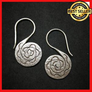 Fine 925 Silver Earrings Vintage Spiral Stick Twist Line Texture ER1113 AUCmon