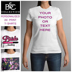 New Ladies Personalised Custom Printed T-shirt Womens Hens Party Cotton Tee Top