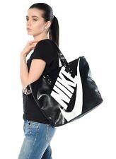 Nike Heritage SI Tote Ladies Sports Bag Black Swoosh Faux Leather