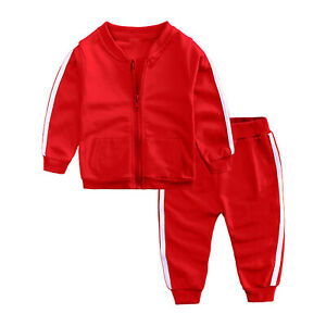 Baby Girls Boys Sports Outfits Spring Autumn Clothes Long Sleeves Coat Pants Set