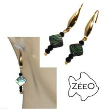 Zéeo Jewelry Earrings Stainless Steel Color Gold Nacre and Spinel