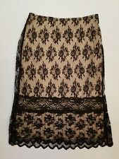 Express Womens Sz XS Black Lace over Nude Lined Pencil Skirt