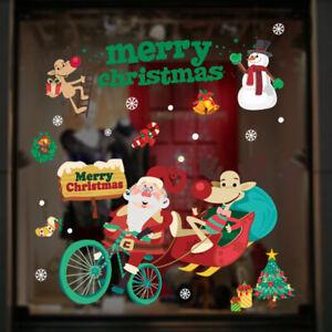 Christmas Xmas Removable Window Stickers Santa Elk Art Wall Decals Home Decor