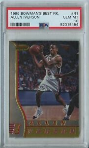 Allen Iverson 1996 97 Bowman's best basketball #R1 76ers RC rookie PSA 10