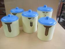 Canisters, Bakelite, blue and cream, Art Deco, vintage