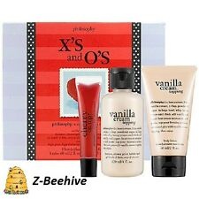 Philosophy X's and O's Collection Vanilla Cream Bath Kit & Cherry gloss Sealed
