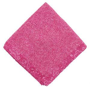 Isaia Pink Melange Cotton-Linen Pocket Square with Floral Print Border NWT