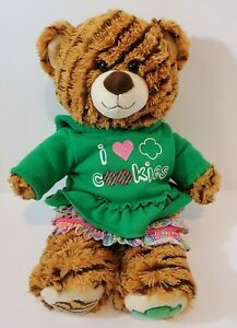 """Build-A-Bear Girl Scouts- Striped Cookie Plush Bear 16"""" - I ❤ Cookies Hoodie"""