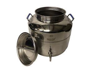 30 Liter Edelstahlbehälter Behälter Kanne Edelstahl Kessel Ölfass Fass FUS30S