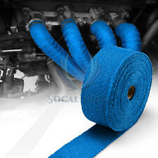 "Blue Exhaust Pipe Insulation Thermal Heat Wrap 2""x50' Motorcycle Header"