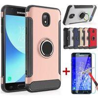 For Samsung Galaxy J7 V 2018/Refine/Star/Crown Hybrid Stand Case+Tempered Glass