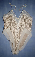 Vintage Natori 3929 Embroidered with Sheer Fabric Trim Teddy Size Medium Taupe