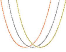 """10K & 14K Rosa Blanco Amarillo Oro 1.5mm-2.5mm Cuerda Cadena Colgante Collar 14"""" -30"""""""