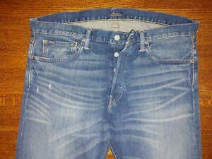 Polo Ralph Lauren Sullivan Slim 1967 washed Denim Jeans 36 x 34 blue $125 rinse