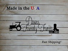 Family Farm Sign with Tractor and Cowboy boots, Country Decor, Barn Name, S1208