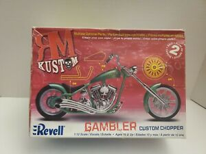 Revell RM Kuston 1:12 Scale GAMBLER CUSTOM CHOPPER MOTORCYCLE OPEN BOX