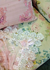 Divine Elegant Victorian PINK Lace Pearl Embroidered Rose Tablecloth ~
