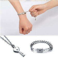 Couple Titanium Steel Lock Bangle Bracelet & Key Pendant Necklace Love Set Gifts