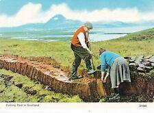 Cutting Peat in Scotland Postcard unused VGC