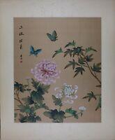 Vintage Oriental Painting, Butterflies and Peonies, Asian Watercolor on Silk Art