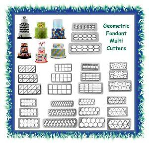 Geometric shapes multicutter fondant cutters - CHOOSE STYLE & SIZE - bunting