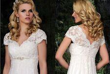 White/Ivory Lace Plus Pregnant Woman Bridal Gown Wedding Dress Custom Size