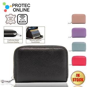 Women Zip Leather Wallet Card Holder Short Wallet RFID Blocking Coin Purse Pouch