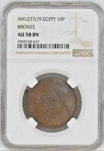 Egypt Bronze Ottoman 10 Para 1277 Year 9 NGC Graded AU58BN