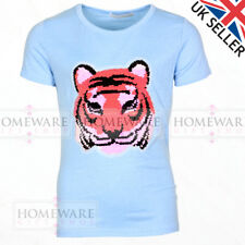 KIDS SEQUIN T-SHIRT REVERSIBLE TIGER T-SHIRT COTTON BLEND GIRLS BOYS 3-14Y NEW