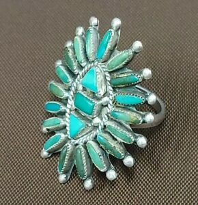 Vintage Zuni Sterling Turquoise Cluster Needle Point Ring Size 7