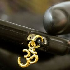 Gold  Om Aum Ohm cell phone Charm Anti Dust Plug Ear Jack For iPhone smartphone