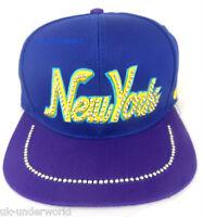 Adults New York Ny Diamond Snapback Hat Retro Hip Hop Baseball Flat Peak Cap