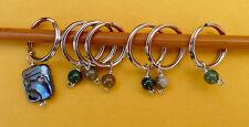 Stitch marker, knitting 6+1 ,  stone and abalone shell  Beads -- green