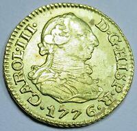 Authentic 1776 Spanish Gold 1/2 Escudo Pirate Doubloon US Colonial Treasure Coin