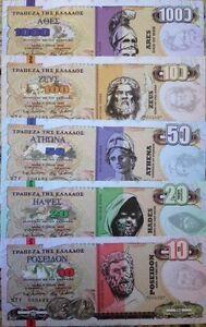 GREECE DRACHMA 10 - 1000 MYTHOLOGY GODS NOVELTY (5) NOTE SET FROM A USA SELLER !