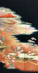 Vintage SILK Japanese Kimono TOMESODE Fabric EMBROIDERY Double Panel  #438