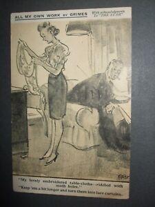 WW2 RAPHAEL TUCK COMIC POSTCARD BY GRIMES MOTHS TABLE CLOTH MAKE LACE CURTAINS