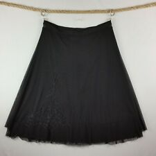 Sharagano Womens A-Line Skirt Large Black Lined Elastic Embroidery