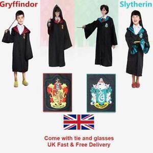 UK Adult Kids Gryffindor Slytherin Harry Potter Robe Tie Glasses Costume Set