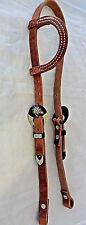 """Iron Sterling Silver Buckles One Ear Hermann Oak Harness Leather Headstall 3/4"""""""