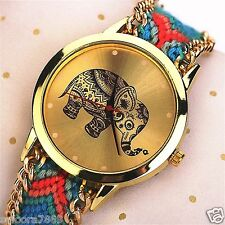 Fashion Women New Geneva Ethnic Braided Analog Quartz Bracelet Wrist Watch- ELEP