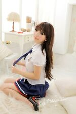 Sexy School Girl Student Uniform w/Blue Tie Costume for Cosplay/Lingerie Party