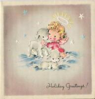 VINTAGE CHRISTMAS CHERUB PINK BLONDE ANGEL LAMBS STARS HALO HUGS GREETING CARD